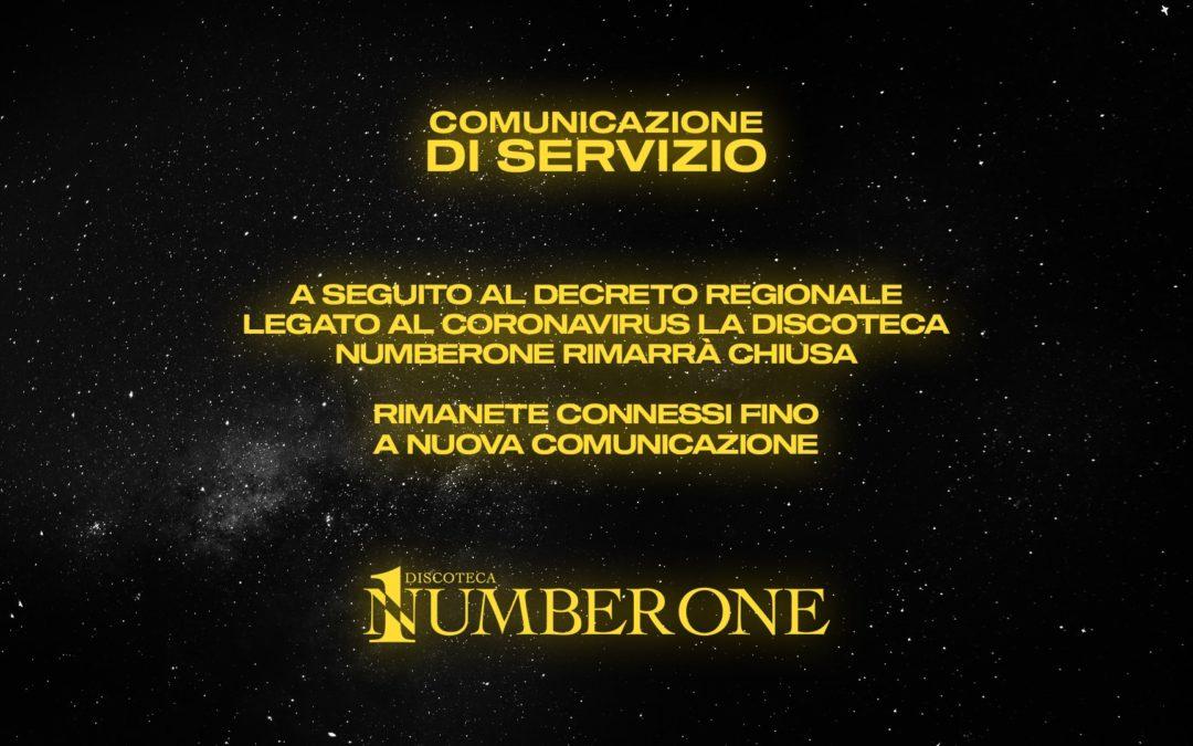 nuova comunicazione di servizio discoteca number One Cortefranca Brescia