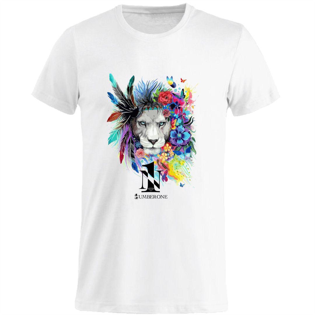 t-shirt-girocollo-manica-corta-uomo-leone-bianca